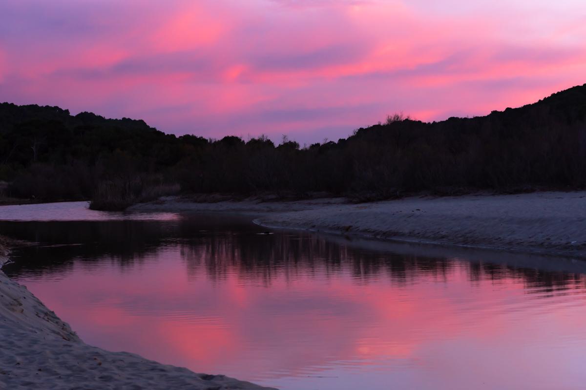 Pink Twilight over Torrent de Sa Borges. Son Serra de Marina. Mallorca. Balearic Islands