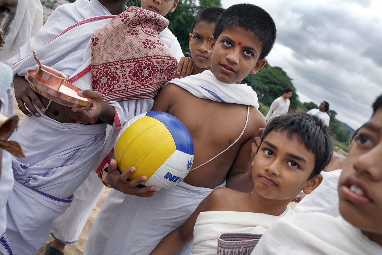 Student hold a ball before a game