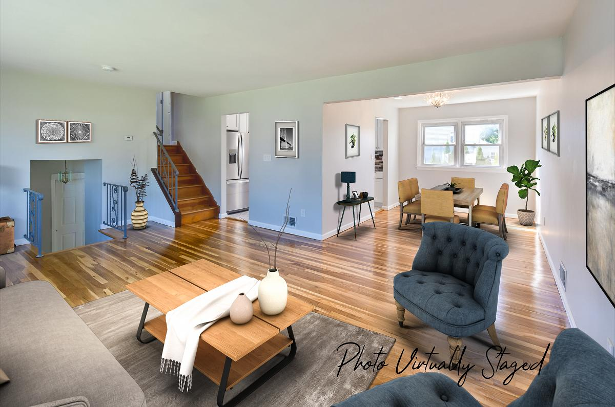 Same room (Living room / Dining room) but virtually staged by a Fords real estate photographer
