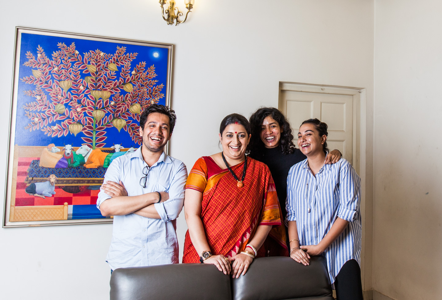 With Smriti Irani - Minister of textiles. I said cheers to women power after the shoot. She jokingly said 'Oh I'm half a man'