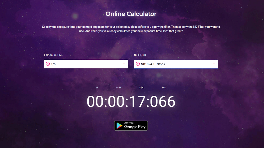 Photograph showing the online nd filter calculator