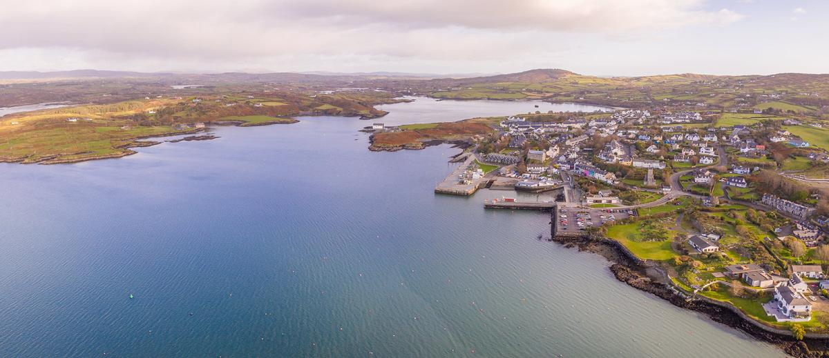 Baltimore village, West Cork, Ireland and the surrounding area shot from a drone.