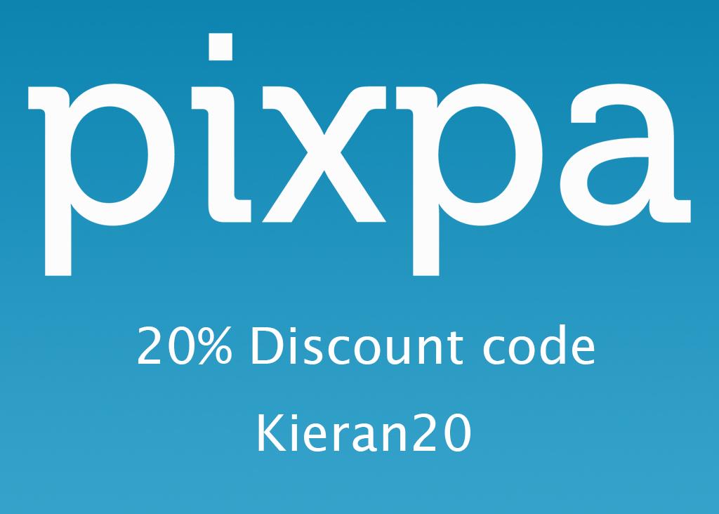 Pixpa logo and discount code
