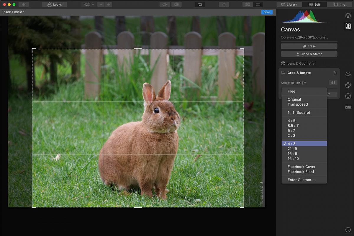 Luminar 4.3 update cropping tool being used on a computer
