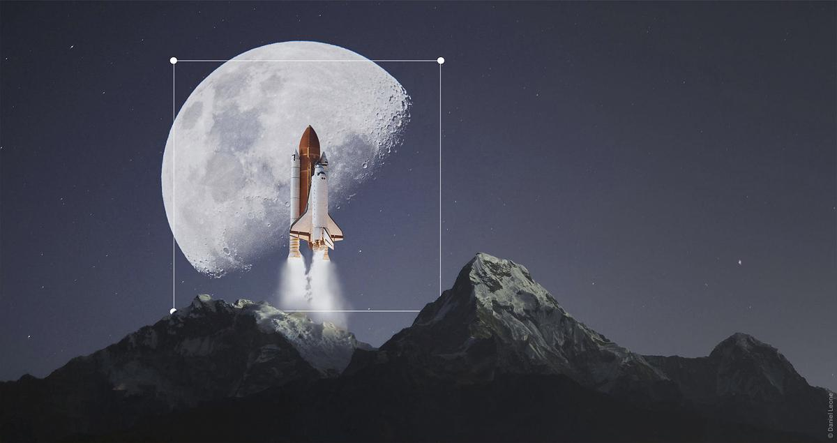 Luminar 4.3 update image of a space shuttle passing the moon