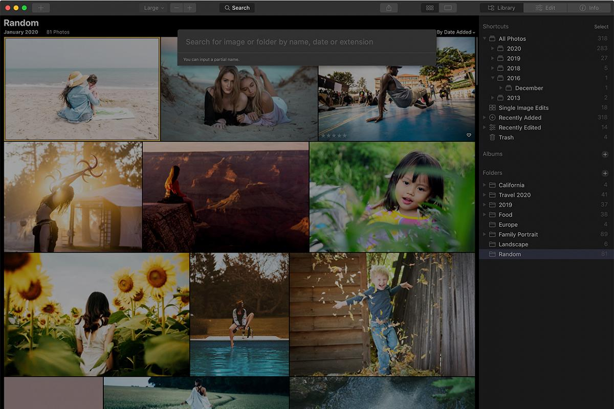 Luminar 4.3 update search function being used on a computer