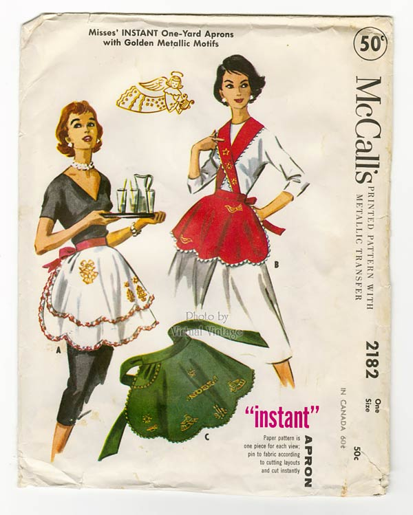 Vintage Apron Sewing Pattern, 1950s McCalls 2182, One Yard One Size