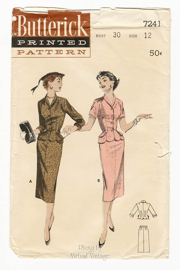 1950s Suit Dress Pattern Butterick 7241, Vintage Sewing Patterns, Uncut