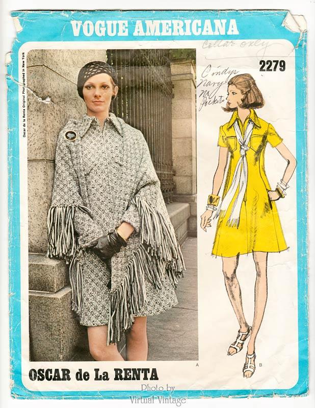 Vogue Americana 2279 Oscar de la Renta Dress and Stole Vintage Sewing Pattern Bust 36