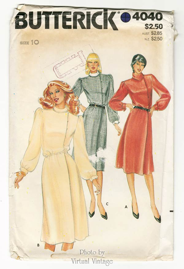 1980s Blouson Dress Pattern Butterick 4040 Side Button Front Midi Dress, Uncut
