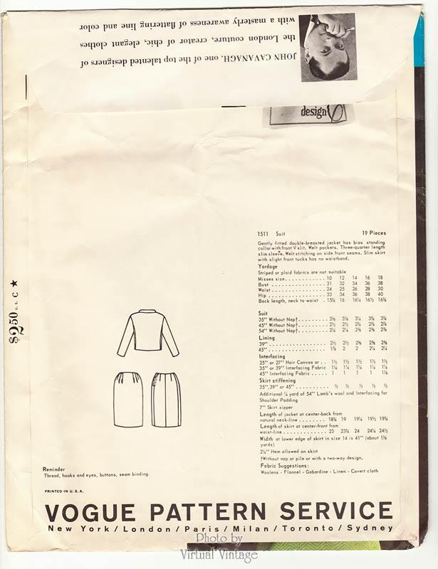 John Cavanagh Vogue Couturier 1511, Womens Suit Pattern, Uncut