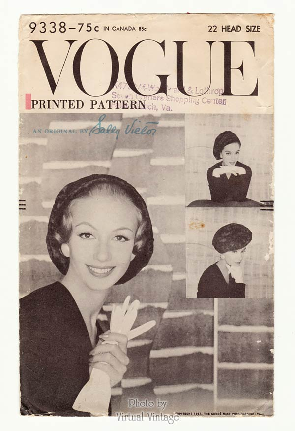 1950s Vogue Hat Pattern 9338 Sally Victor Beret Vintage Sewing Pattern Head Size 22, Uncut