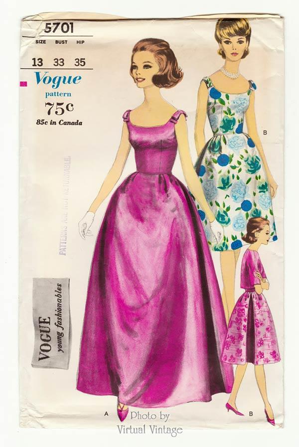1960s Evening Gown Pattern Vogue 5701, Sleeveless Bell Skirt Dress, Petticoat & Jacket