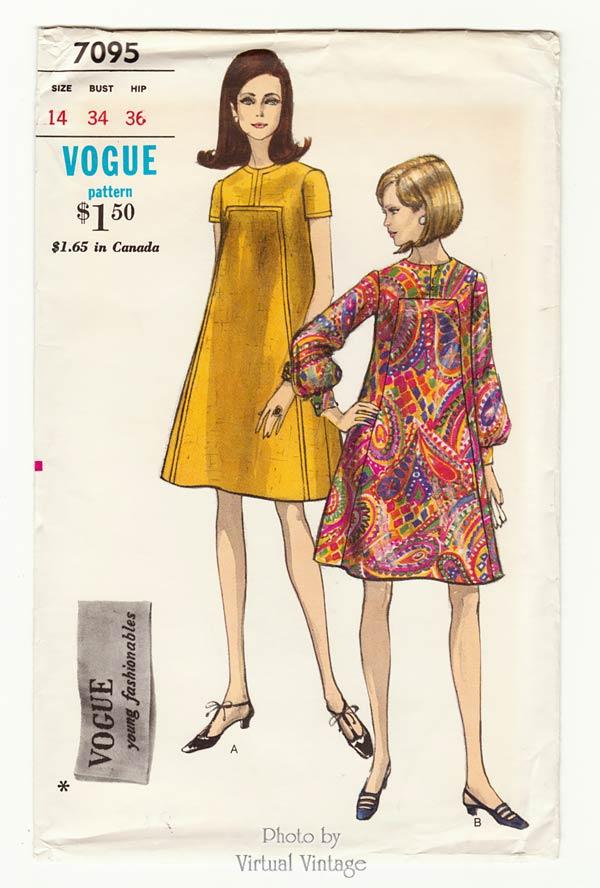 Vogue 7095 60s Tent Dress Pattern, Bust 34, Uncut