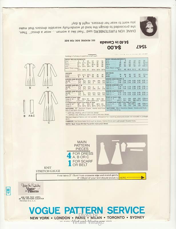 Vogue 1547, Diane Von Furstenberg Dress Pattern, Bust 34 Vintage Sewing Patterns