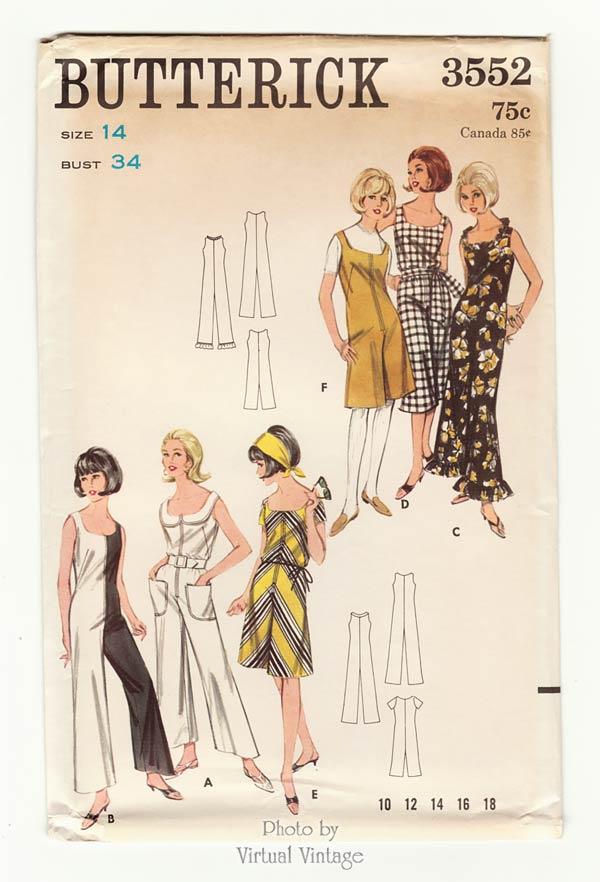 Vintage Jumpsuit Pattern Butterick 3552, Womens Sewing Patterns, Bust 34, Uncut