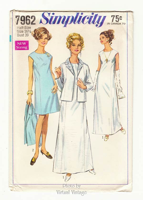 Jacket & Evening Gown Vintage Sewing Patterns, Simplicity 7962, Uncut