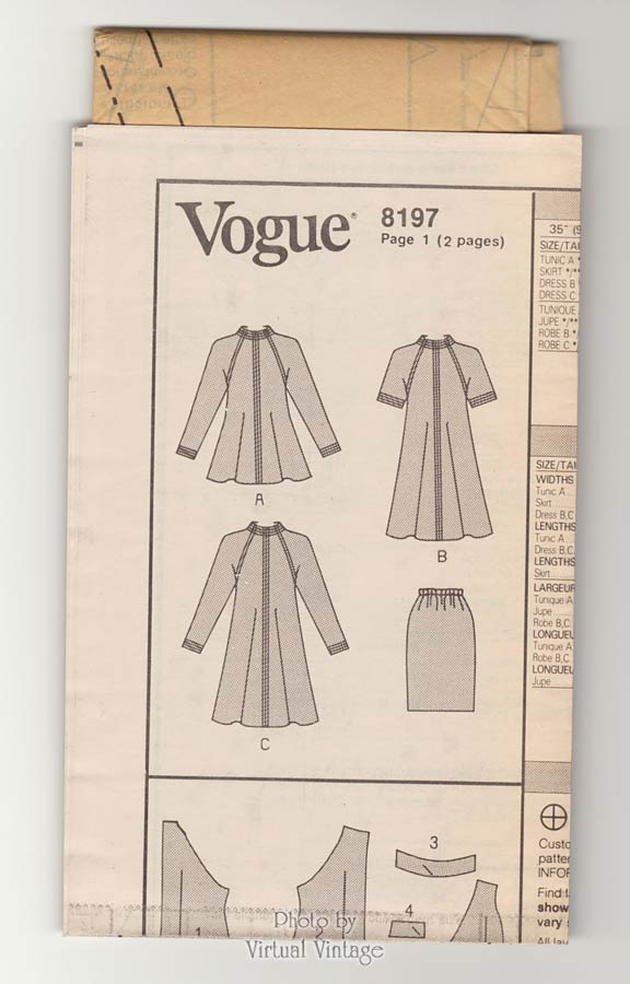 Vogue 8197 Easy Sewing Tent Dress Pattern or Tunic & Skirt, Bust 36 38 40, Uncut