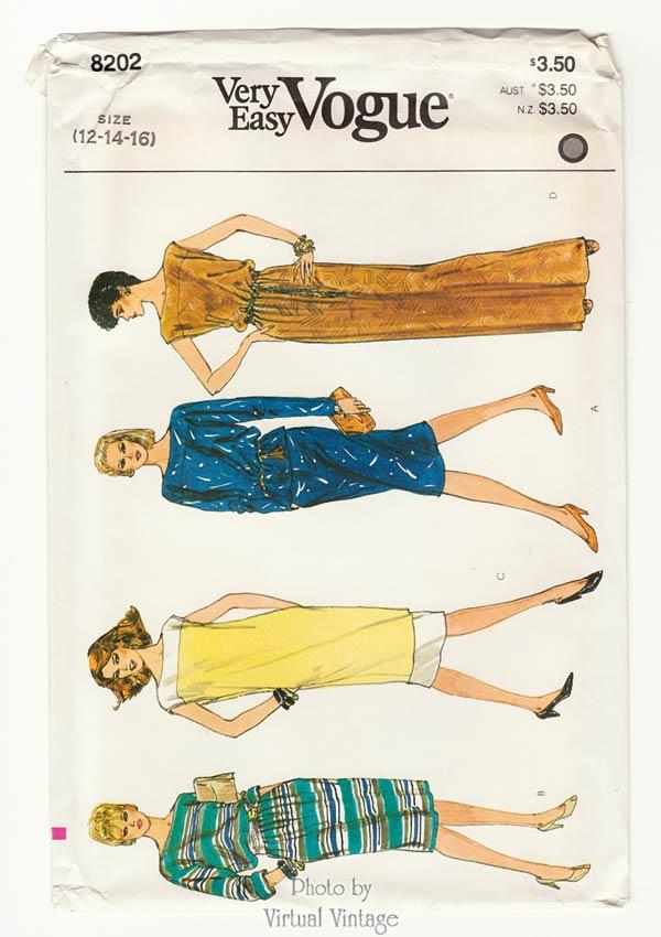 Boat Neck Tunic Dress Pattern Vogue 8202,  Top, Skirt, Dress Patterns Sizes 12 14 16 Uncut