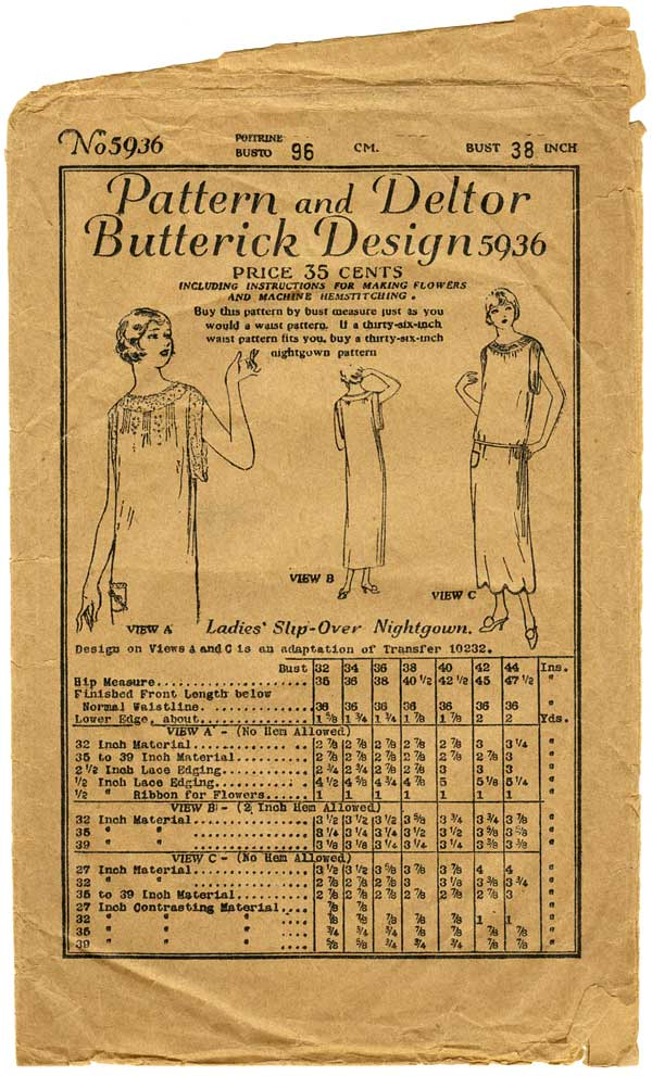 1920s Sewing Pattern Butterick 5936, Bust 38 Nightgown or Chemise Dress Pattern