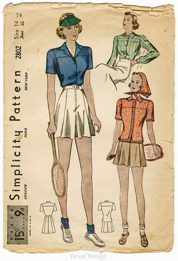 Simplicity 2802, Vintage Tennis Outfit, 30s Sewing Pattern