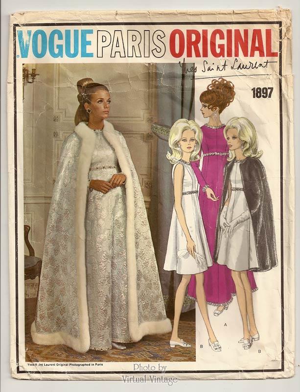 Vintage Vogue Paris Original 1897, Yves Saint Laurent Cape & Evening Dress Pattern, Bust 38