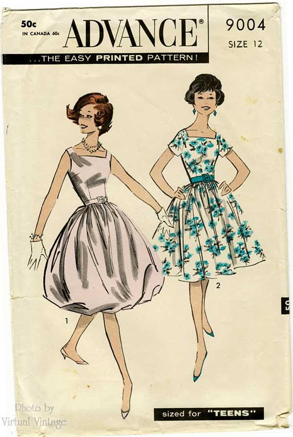 1950s Bubble Skirt Dress Pattern, Advance 9004, Swing or Balloon Skirt Party Dress Sewing Pattern