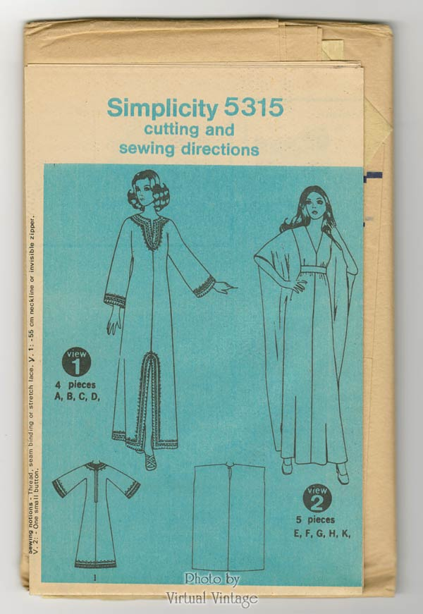 Simplicity 5315 Caftan Pattern One Size or Size Small Kaftan Dress Vintage Sewing Pattern