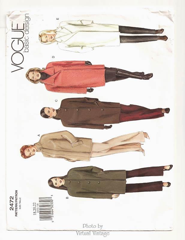 Plus Size Coat Pattern, Vogue Basic Design 2472, Bust 40 42 44, Uncut