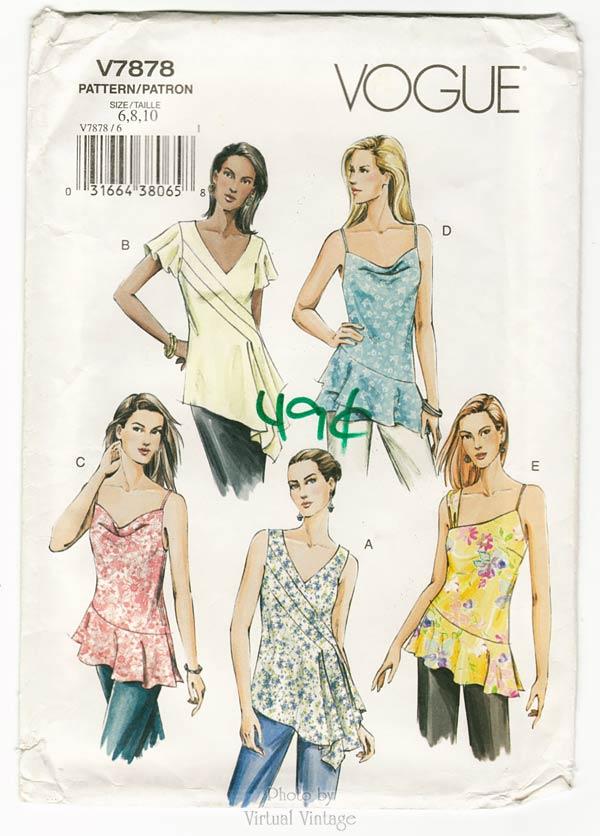 Sleeveless Tunic Sewing Pattern Vogue V7878, Asymmetrical Tops, Size 6 8 10, Uncut