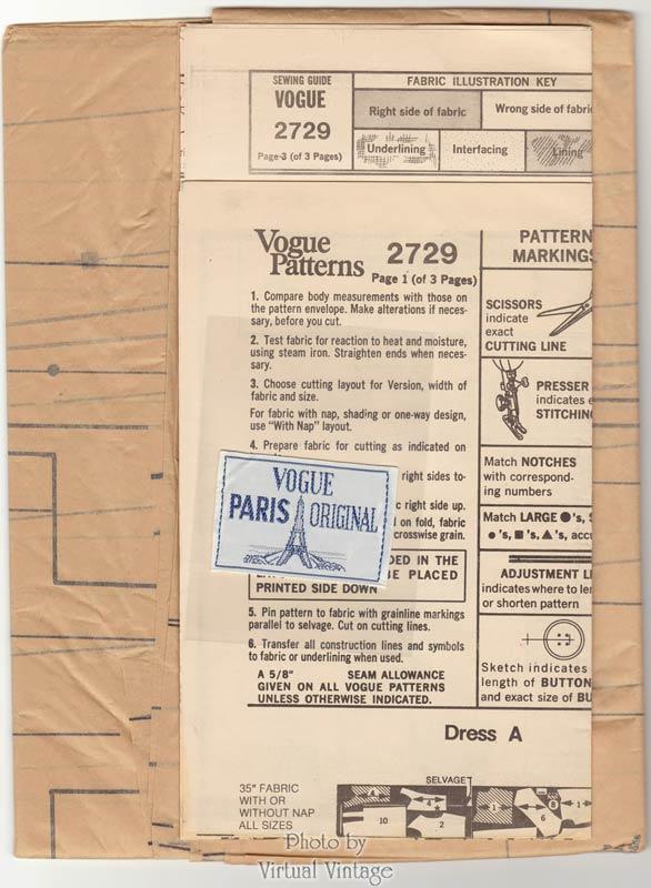 Nina Ricci Vogue Paris Original 2729, 1970s Front Wrap Dress Pattern, Bust 38, Uncut