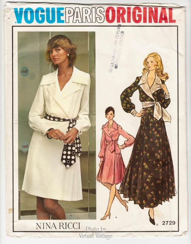 UNCUT NINA RICCI  Designer  Vogue Pattern 1721  Beautiful Evening Length Skirt Wrap Blouse Hoodie Top /& Sash   Size 14 bust 36