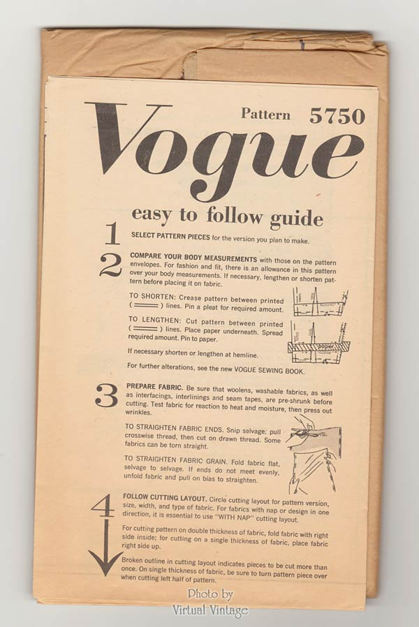 1960s Bell Skirt Dress Pattern, Vogue 5750, Vintage Sewing Patterns, Bust 34, Uncut