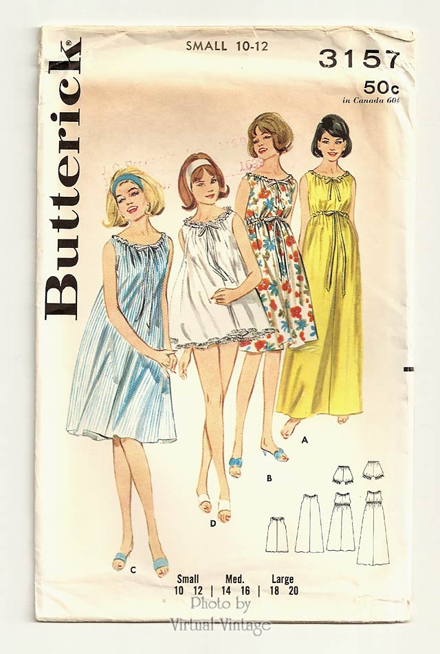 1960s Empire Waist Nightgown Pattern, Butterick 3157, Vintage Sewing Patterns, Uncut