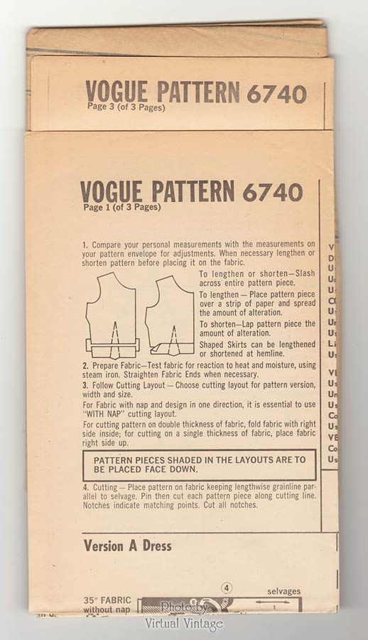 Vogue 6740, 60s Sheath Dress Pattern with A-line Coat or Cropped Jacket, Bust 34 Uncut