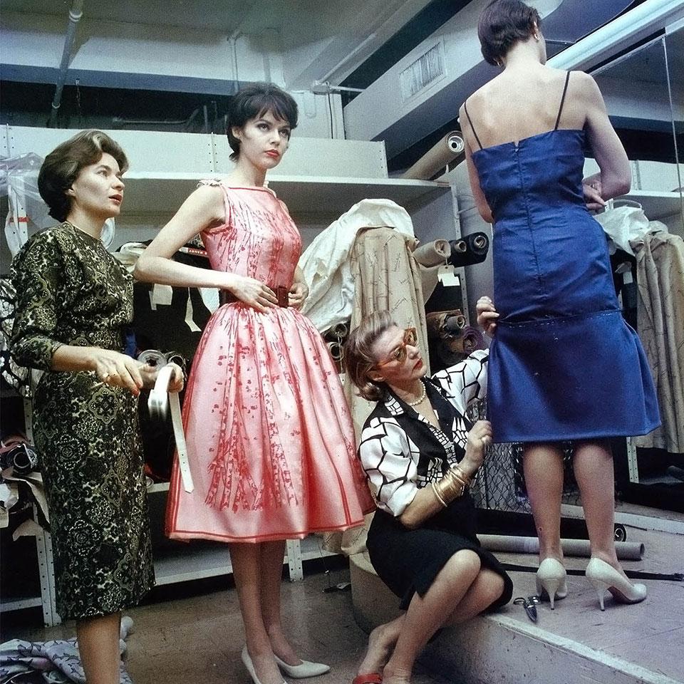 Pauline Trigère fitting dresses in 1962.