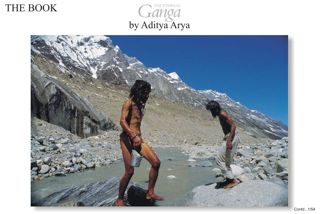 Pilgrims bathing in the icy waters at Gaumukh ( Cow's mouth), the source of the Ganga.