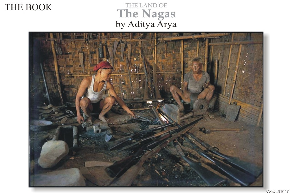 Interior of a Konyak gunsmith's shop. Gun barrels can be seen at bottom right. The Konyak learnt the skill of making muzzle loaders form Myanmar in pre-colonial times. Later, the quelling of a Manipuri rebellion in 1891 resulted in large number of guns being available in the Naga Hills.