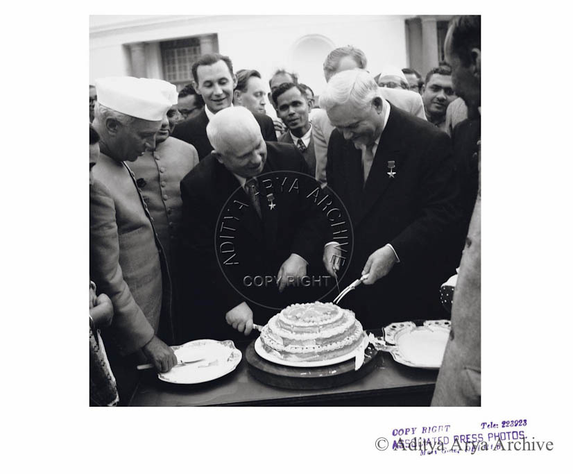 Jawaharlal Nehru, Nikita Khrushchev and Marshall Bulganin at a reception 1955