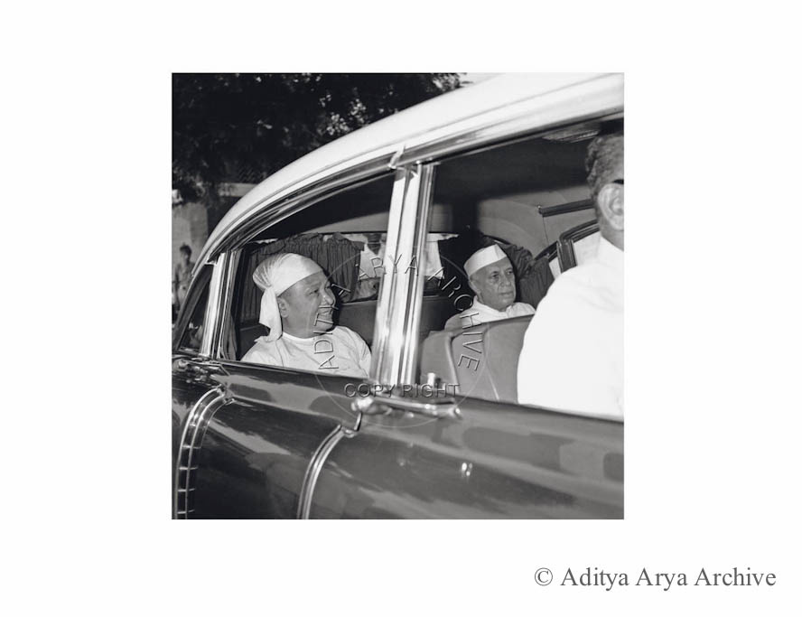 U Nu, Prime Minister of Burma arriving at Palam Airport, New Delhi. Undated