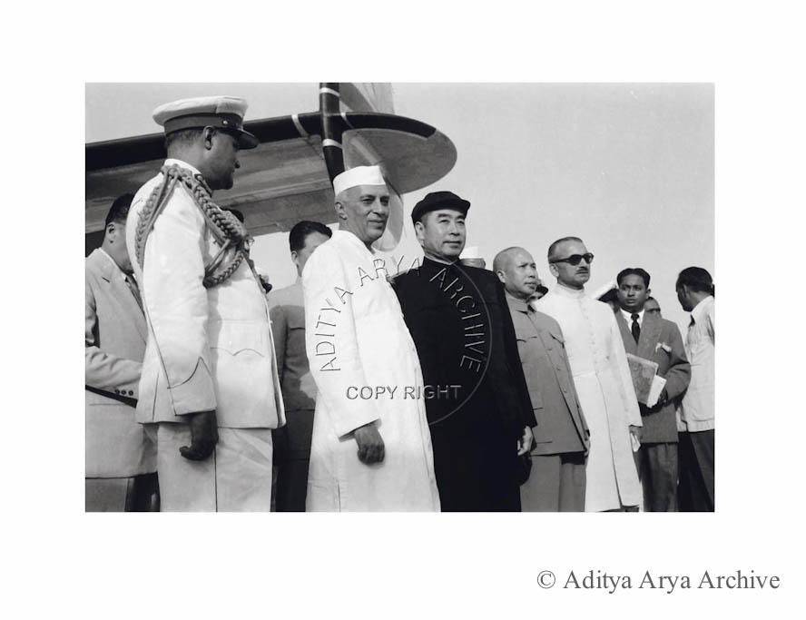 Jawaharlal Nehru receives the Chinese Prime Minister Chou En-lai at palam Airport, New Delhi