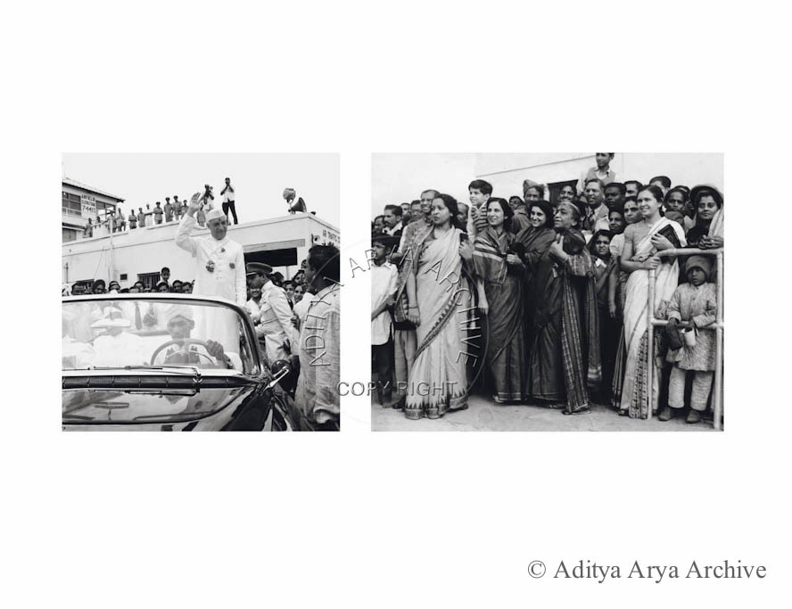 Jawaharlal Nehru being given a send-off by the ladies at Willingdon Airport, now known as Safdarjung Airport, on his trip to England. Undated