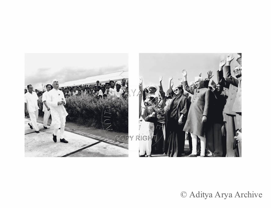 Jawaharlal Nehru waiting in anticipation, and bidding farewell.