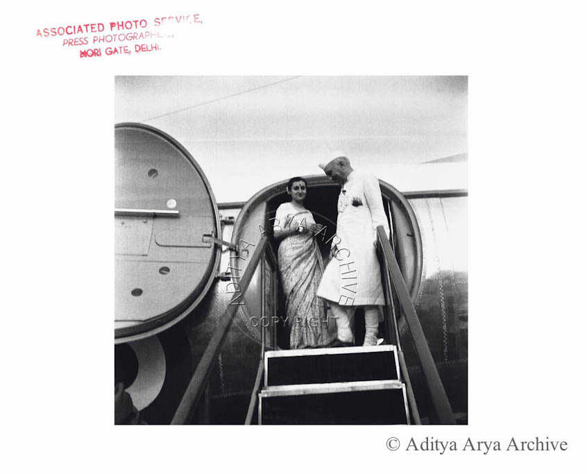 Indira Gandhi and Jawaharlal Nehru. Undated
