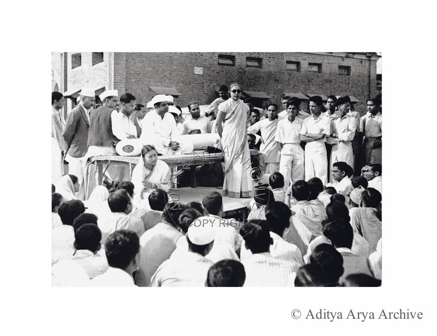 Vijaylakshmi Pandit addressing a public meeting. Undated