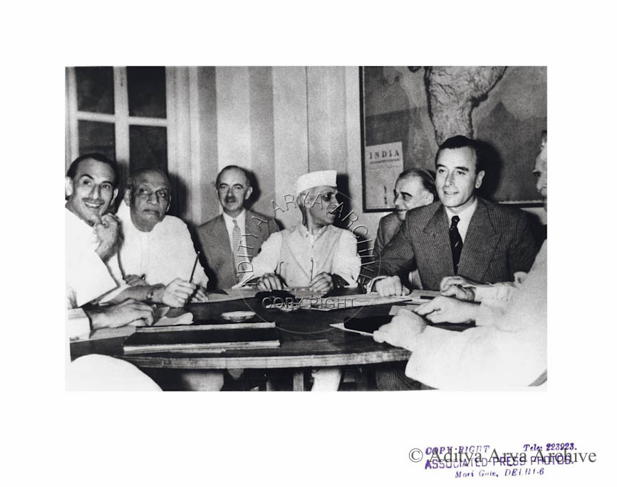 Seated from R to L: Lord Mountbatten, Jawaharlal Nehru, and Sardar Patel. Acharya Kripalani.1947