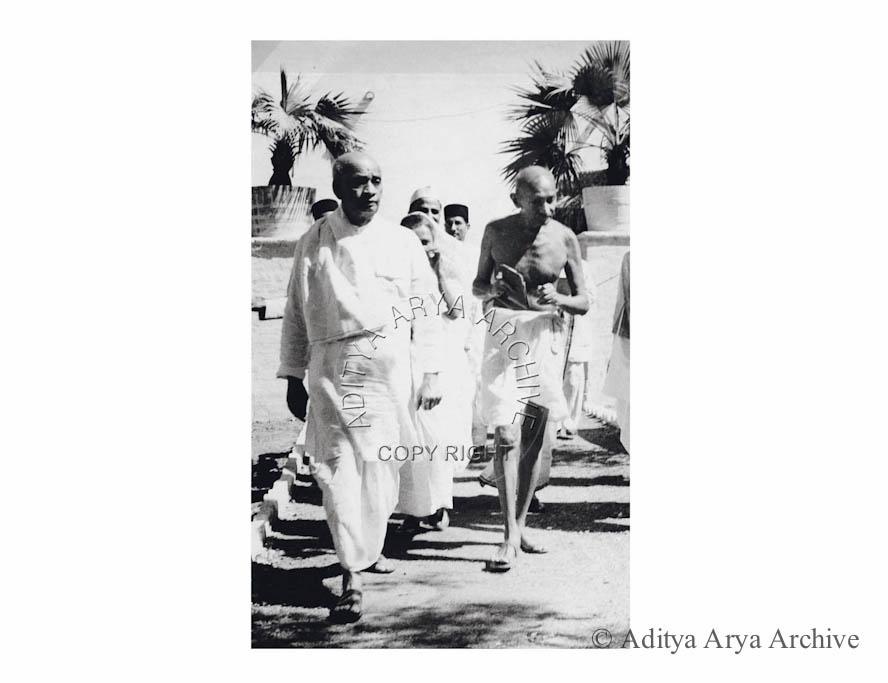 Mahatma Gandhi with Sardar Patel. Undated