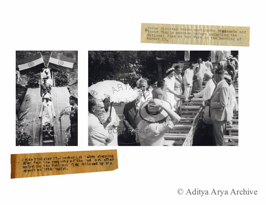 .  Left-  Prime Minister Pt. Jawahar Lal Nehru stepping down from the ramp arts of  the Red Fort after unfurling the National Flag followed by his speech on 15th August.