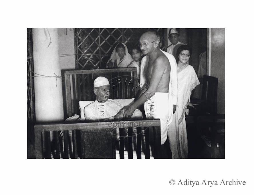 Gandhi ji calling on the ailing leader Madan Mohan Malviya, New Delhi. 1946