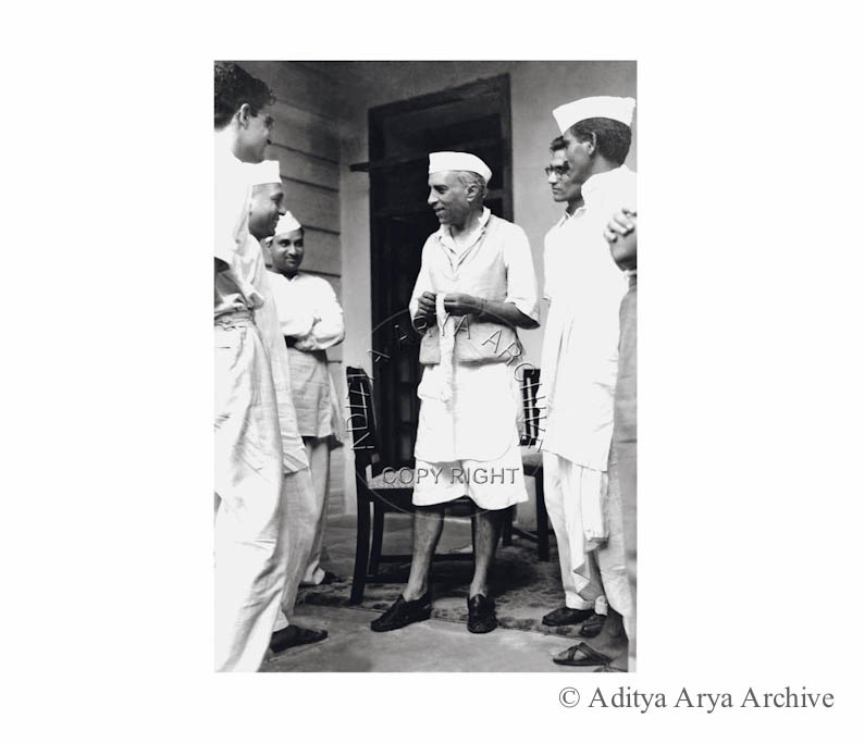 Jawaharlal Nehru  with Congress Volunteers in New Delhi.1938
